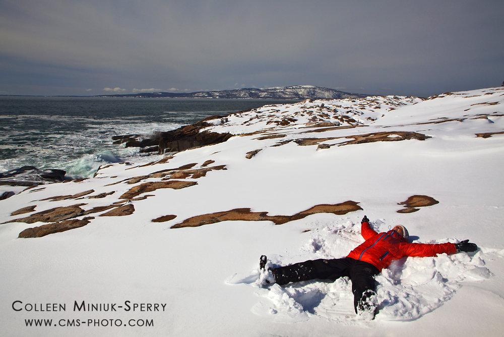 Snow Angel on Schoodic Point