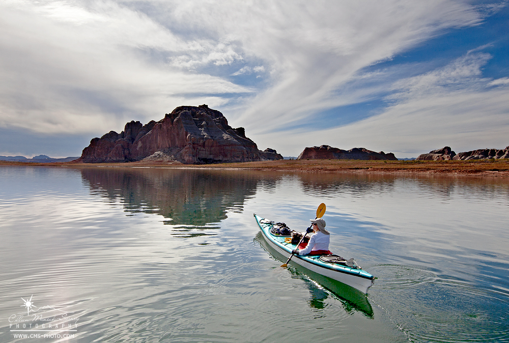 My Mom, Jacque, kayaking in Warm Creek Bay during our recent trial run on Lake Powell in preparation for our trip next week.
