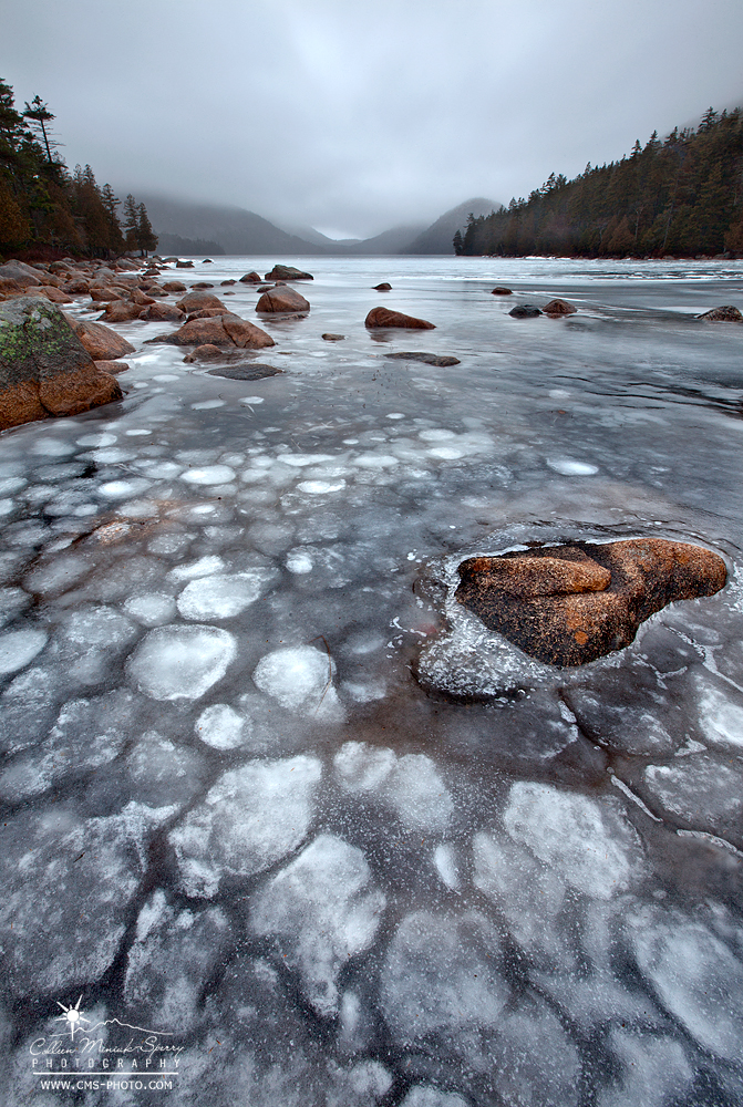 Winter's Hold on Jordan Pond